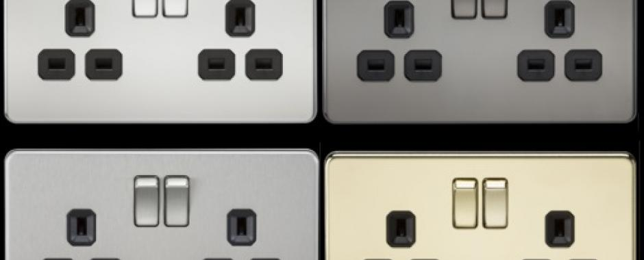 screwless sockets, decorative sockets, sockets and switches, ml accessories, knightsbridge, wiring accesories, metal finish, flat plate