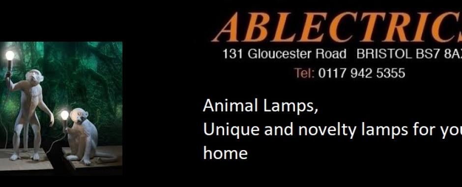 animal lamps, novelty lamps, man cave, games room, nursery lights, monkey lamps, wall lights, table lamps, floor lamps
