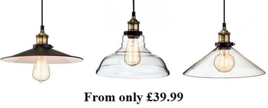 Vintage Style Glass Pendant Lights From
