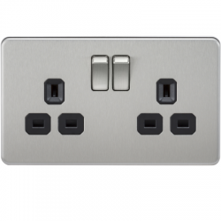 screwless sockets, decorative sockets, sockets and switches, ml accessories, knightsbridge, wiring accesories, metal finish, flat plate,