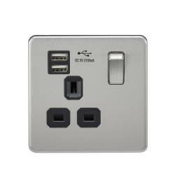 ml accessories, knightsbridge, screwless sockets, screwless switches, usb socket, usb double socket, flat plate, usb flat plate, usb single socket