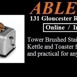 stainless steel kettle, stainless steel toaster, brushed stainless kettle, brushed stainless toaster, matching toaster and kettle, matching kettle and toaster, tower kettle, tower toaster, tower 2 slice toaster,