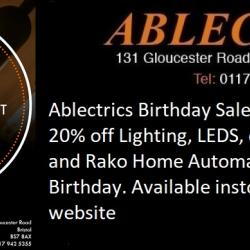 discounted lighting, lighting sale, birthday sale, 20% off lighting, ablectrics sale, ablectrics disount lighting