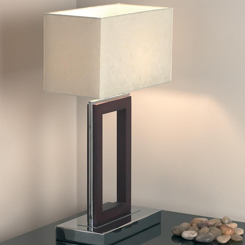 Endon 0195 dw dark wood and chrome rectangular table lamp endon 0195 dw dark wood and chrome rectangular table lamp aloadofball Image collections