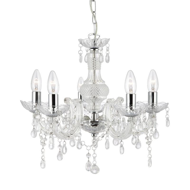 Marie therese 5 arm clear chandelier light