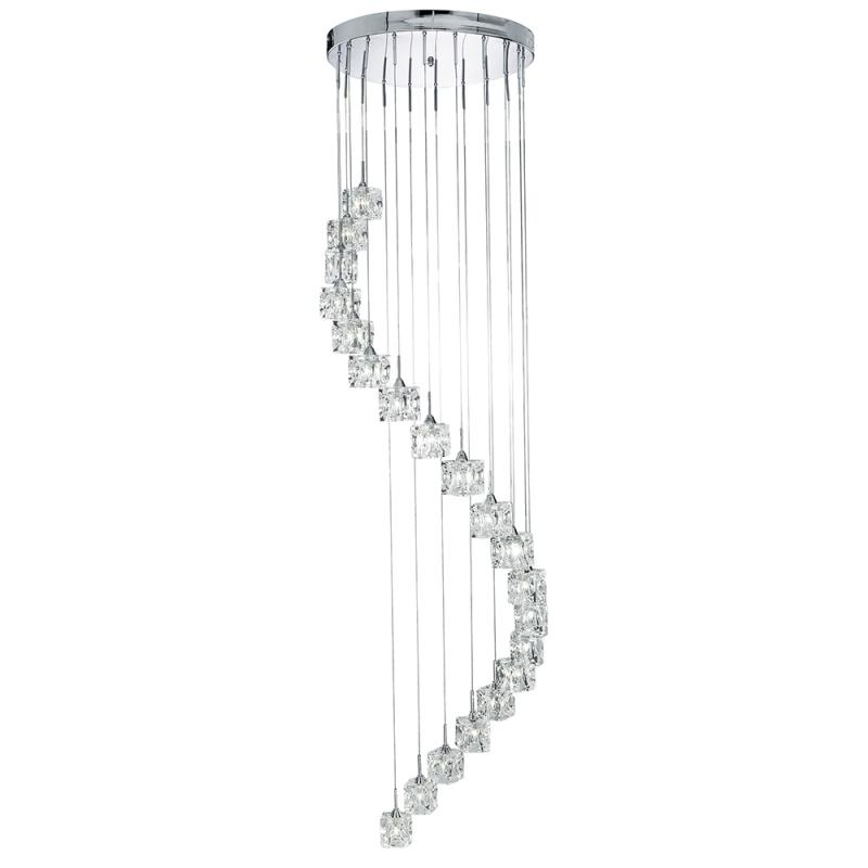 staircase feature light 20 x ice cubes in hanging spiral