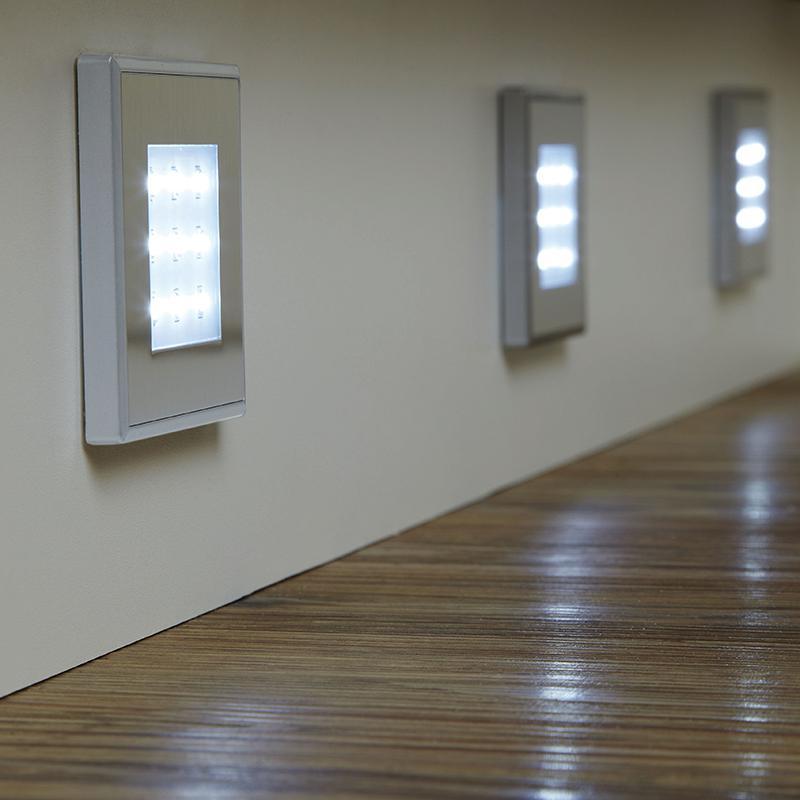 endon el 10080 set of 3 stainless steel square led plinth. Black Bedroom Furniture Sets. Home Design Ideas