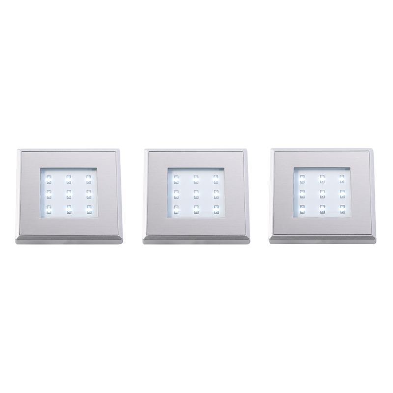 Endon EL Set Of Stainless Steel Square LED Plinth Light - Kitchen plinth lights square