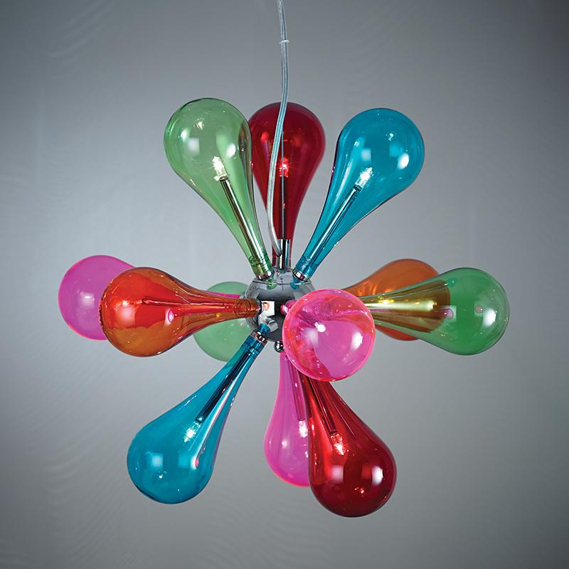 Endon NIVEN-9MULTI 9 light ceiling fitting with multi coloured glass shades ...