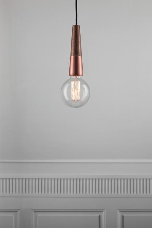 Nordlux Balle walnut and copper single pendant : Electricsandlighting.co.uk