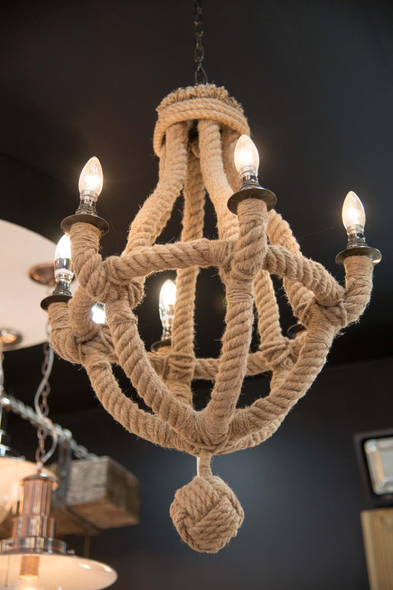 6 arm rope nautical chandelier light - Nautical Chandelier