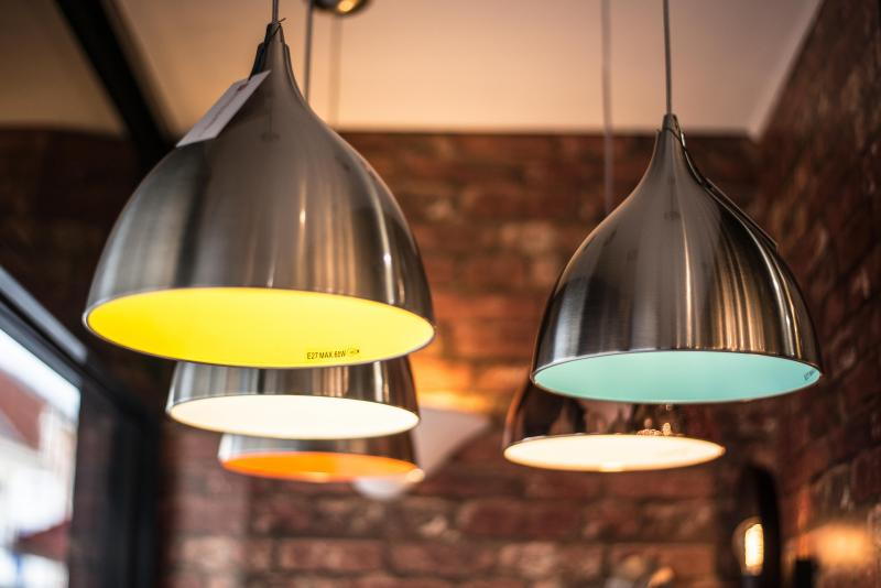 Cafe pendant light stainless steel with a lime green inside cafe pendant green inside mozeypictures Image collections