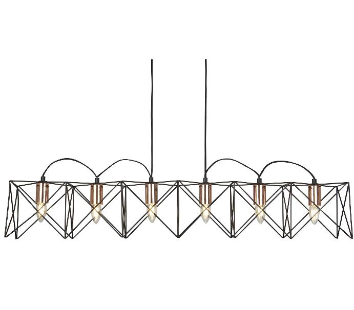 6 Light 8416-6BK Black Frame Pendant With Copper Detail