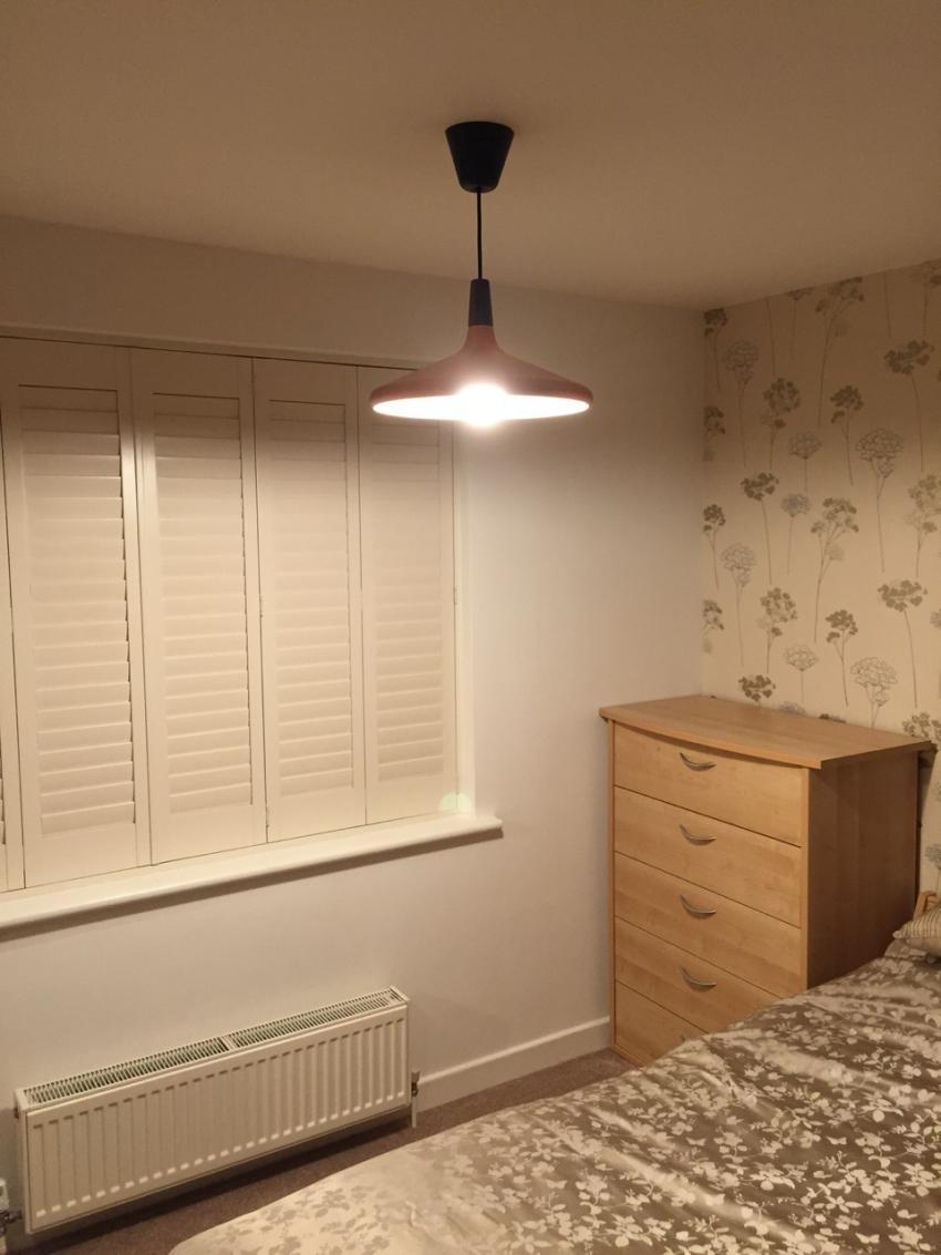 Copper Pendant Light In A Double Bedroom Electricsandlighting Co Uk