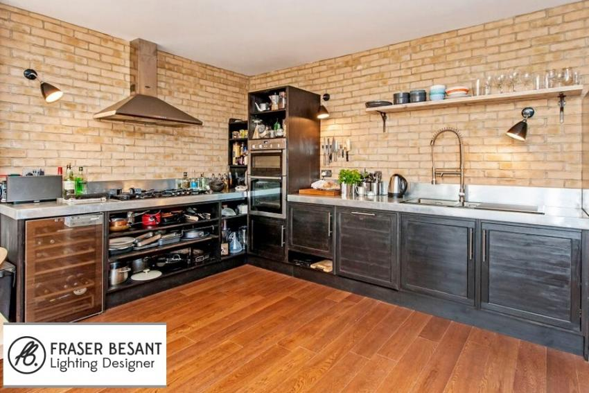 Urban Kitchen Fitted With Adjustable Wall Lights